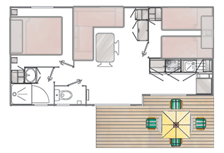 Plan du mobil Home SINAGO Camping Ker Eden Larmor Baden