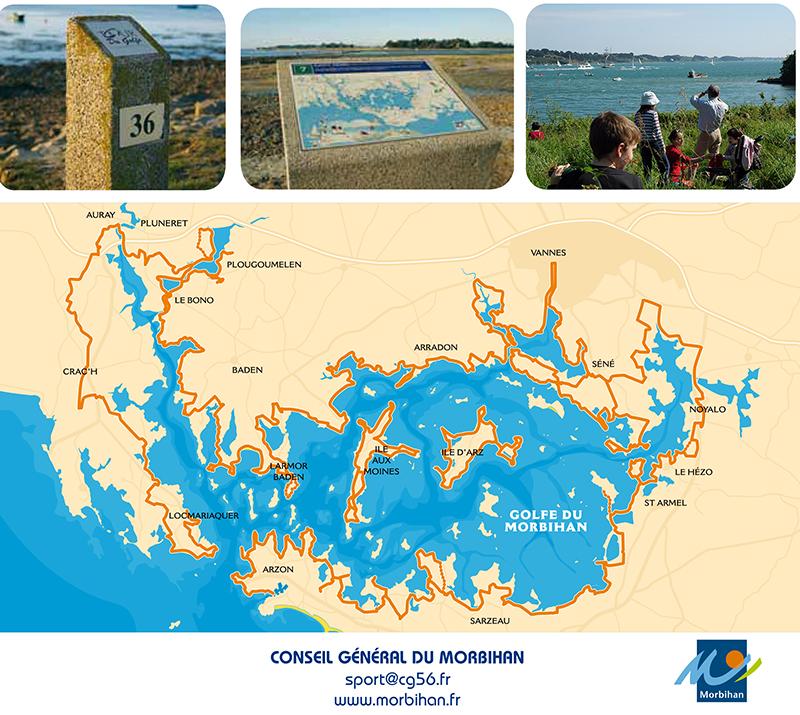 Carte de randonnée autour du Golfe du Morbihan