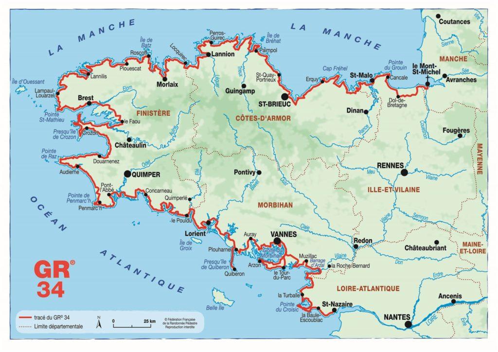 Carte Bretagne Avec Km.Hiking Camping Ker Eden Golfe Du Morbihan