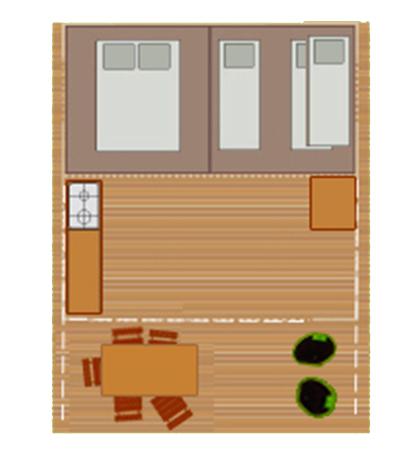 Plan de la tente Lodge au camping Ker Eden