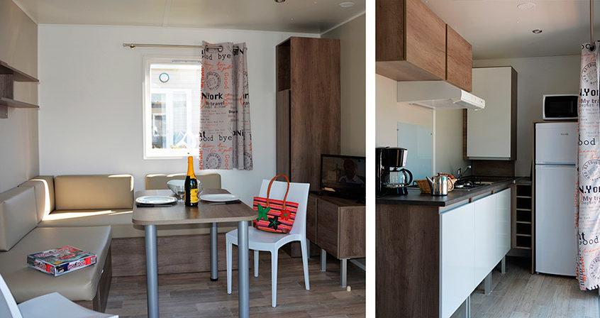 Cuisine et salon du cottage Sinago
