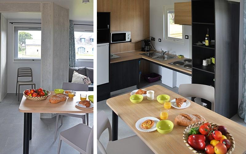 Séjour et cuisine du cottage Vacances PMR